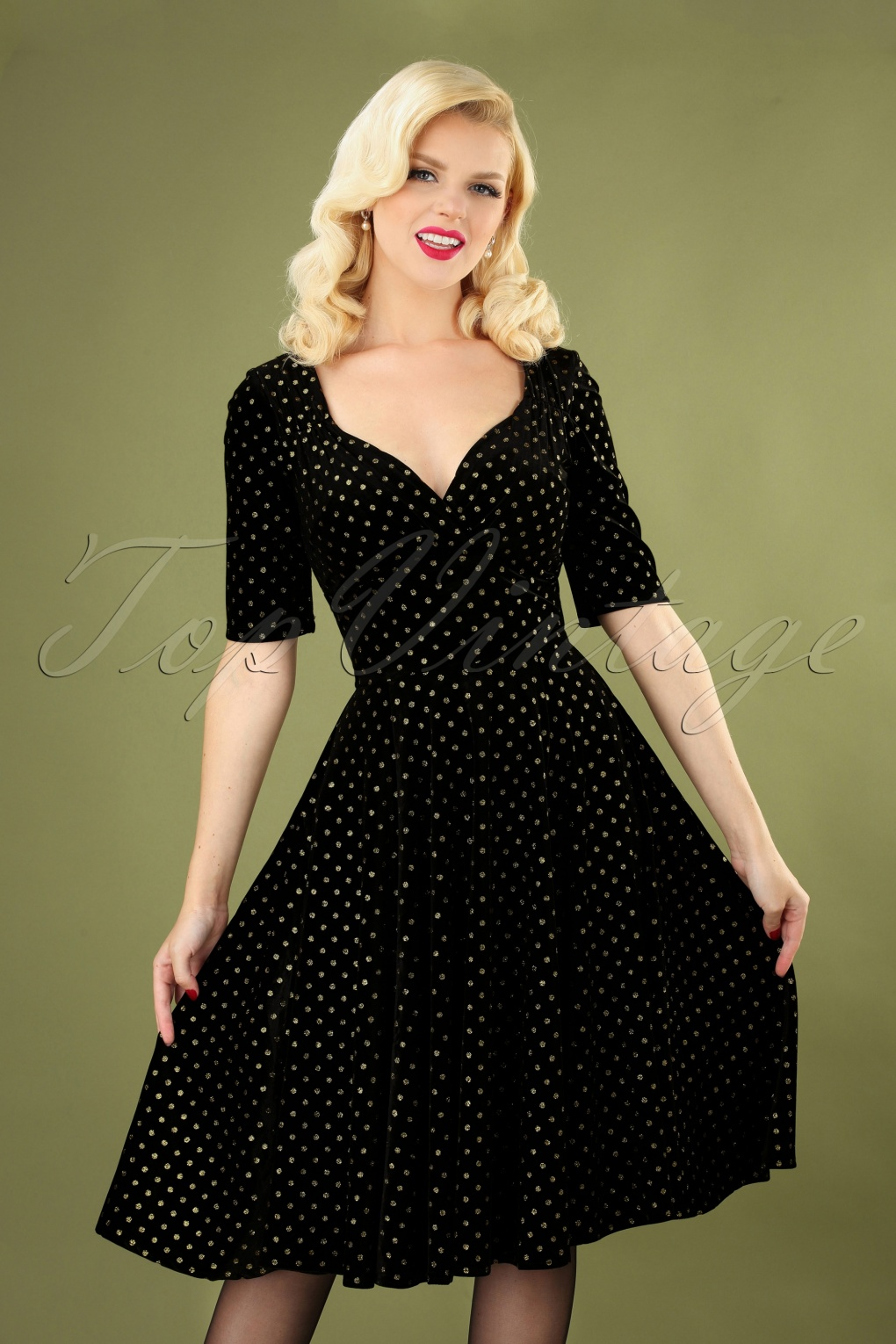 1940s Cocktail Dresses, Party Dresses 50s Trixie Golden Polka Velvet Doll Swing Dress in Black £61.99 AT vintagedancer.com