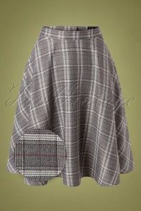 Bunny 50s Frostine Tartan Swing Skirt in Grey