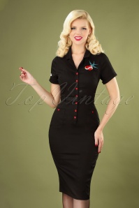 50s Caterina True Love Pencil Dress in Black