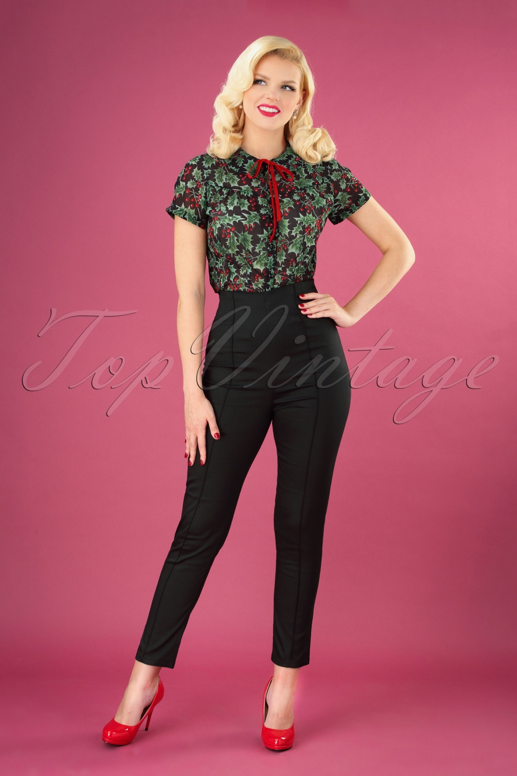 Vintage High Waisted Trousers, Sailor Pants, Jeans 50s Bonnie Trousers in Black £41.12 AT vintagedancer.com