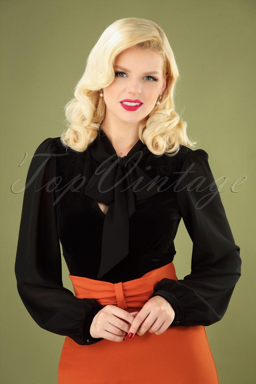 1950s Rockabilly & Pin Up Tops, Blouses, Shirts 50s Gabriella Velvet Top in Black £36.02 AT vintagedancer.com