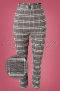 Bunny 50s Gibeon Tartan Cigarette Trousers in Grey