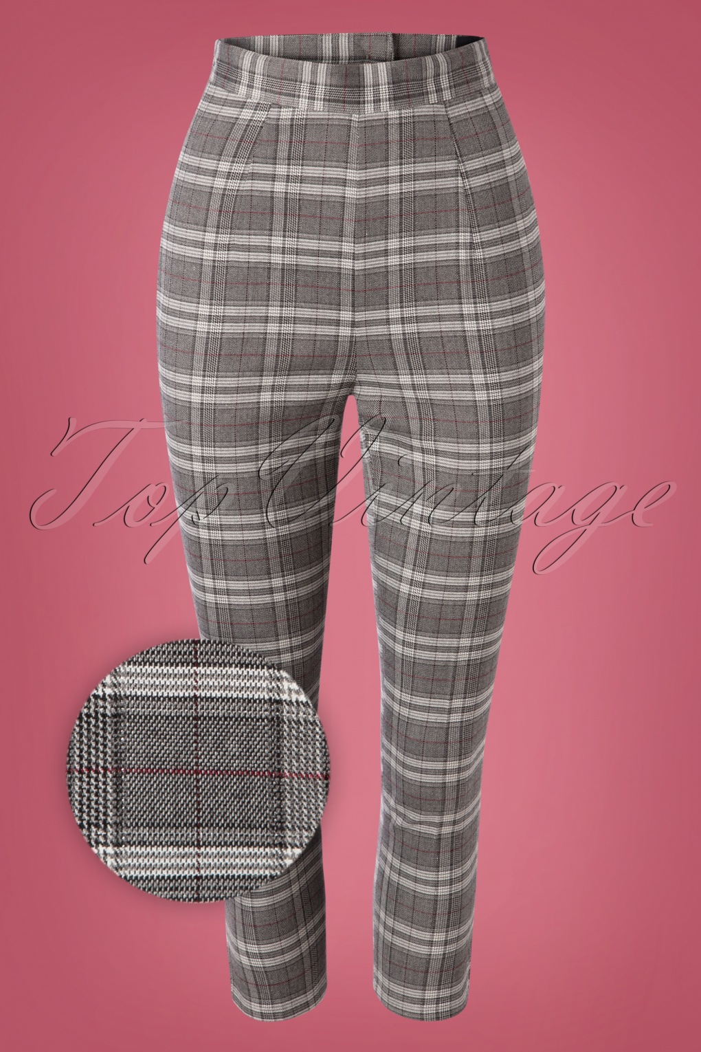 1950s Pants & Jeans- High Waist, Wide Leg, Capri, Pedal Pushers 50s Gibeon Tartan Cigarette Trousers in Grey £29.59 AT vintagedancer.com