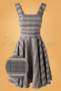 Bunny 40s Frostine Pinafore Tartan Dress in Grey