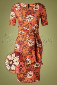 50s Shawna Floral Pencil Dress in Orange
