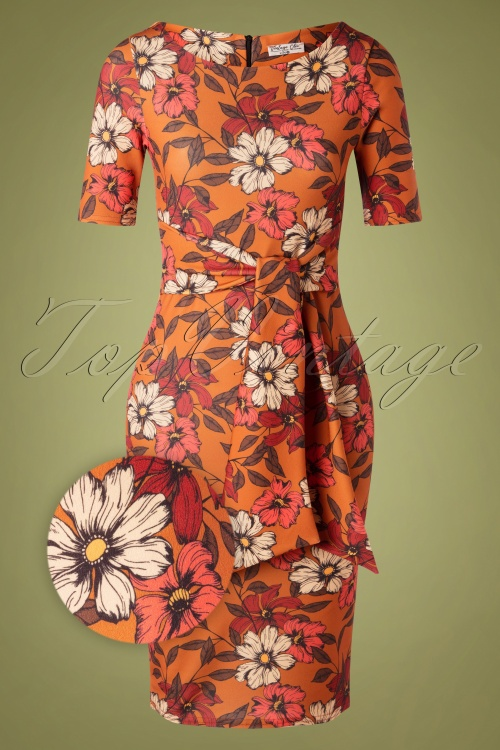 Vintage Chic 31972 Pencildress Brown Floral 190821 003Z