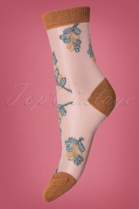 Sneaky Fox 70s Belle Flower Socks in Dull Gold
