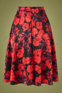 Vintage Chic 31193 Swingskirt Black Red Floral Satin 190821 007W