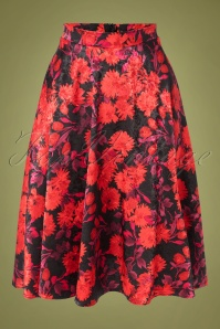 50s Selena Floral Swing Skirt in Black