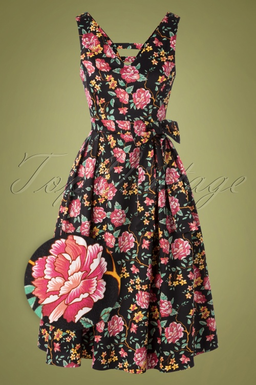 Lady V 30859 Swingdress Iris Black Floral 082119 003Z