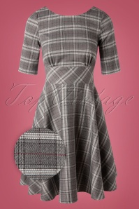 50s Frostine Tartan Swing Dress in Grey