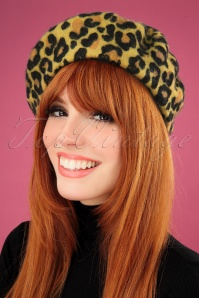60s Leopard Beret Hat in Marzipan