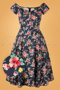 Lady V by Lady Vintage 50s Josie Country Garden Swing Dress in Navy