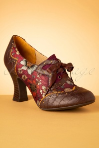 Ruby Shoo 40s Daisy Floral Booties in Russet