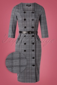 Sheen 50s Jasmine Check Pencil Dress in Grey