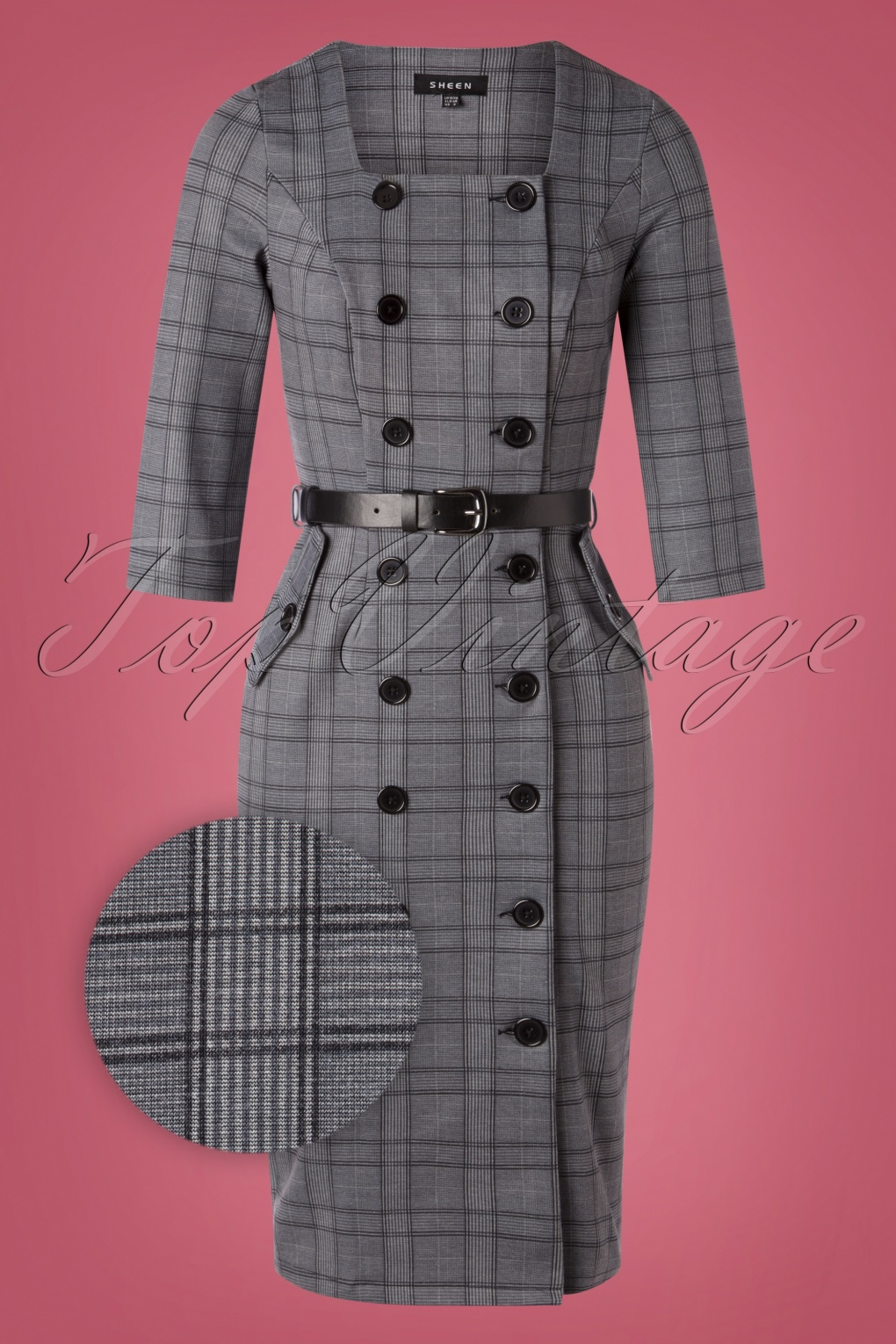Pin Up Dresses | Pinup Clothing & Fashion 50s Jasmine Check Pencil Dress in Grey £64.49 AT vintagedancer.com