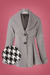 50s Carlie Houndstooth Blazer in Black and White