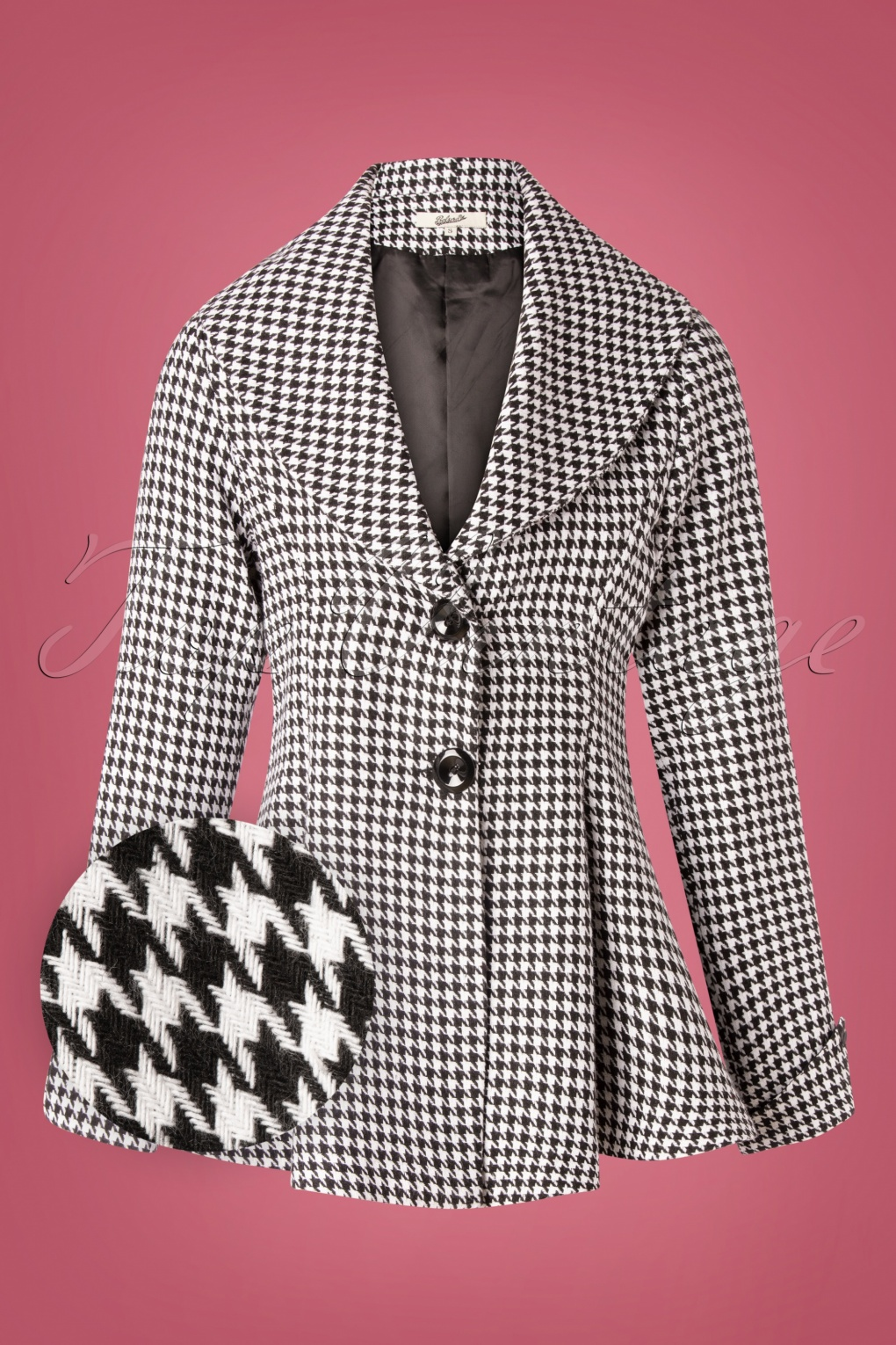 Vintage Coats & Jackets | Retro Coats and Jackets 50s Carlie Houndstooth Blazer in Black and White £83.10 AT vintagedancer.com