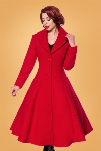 Belsira 50s Dorrie Wool Coat in Lipstick Red