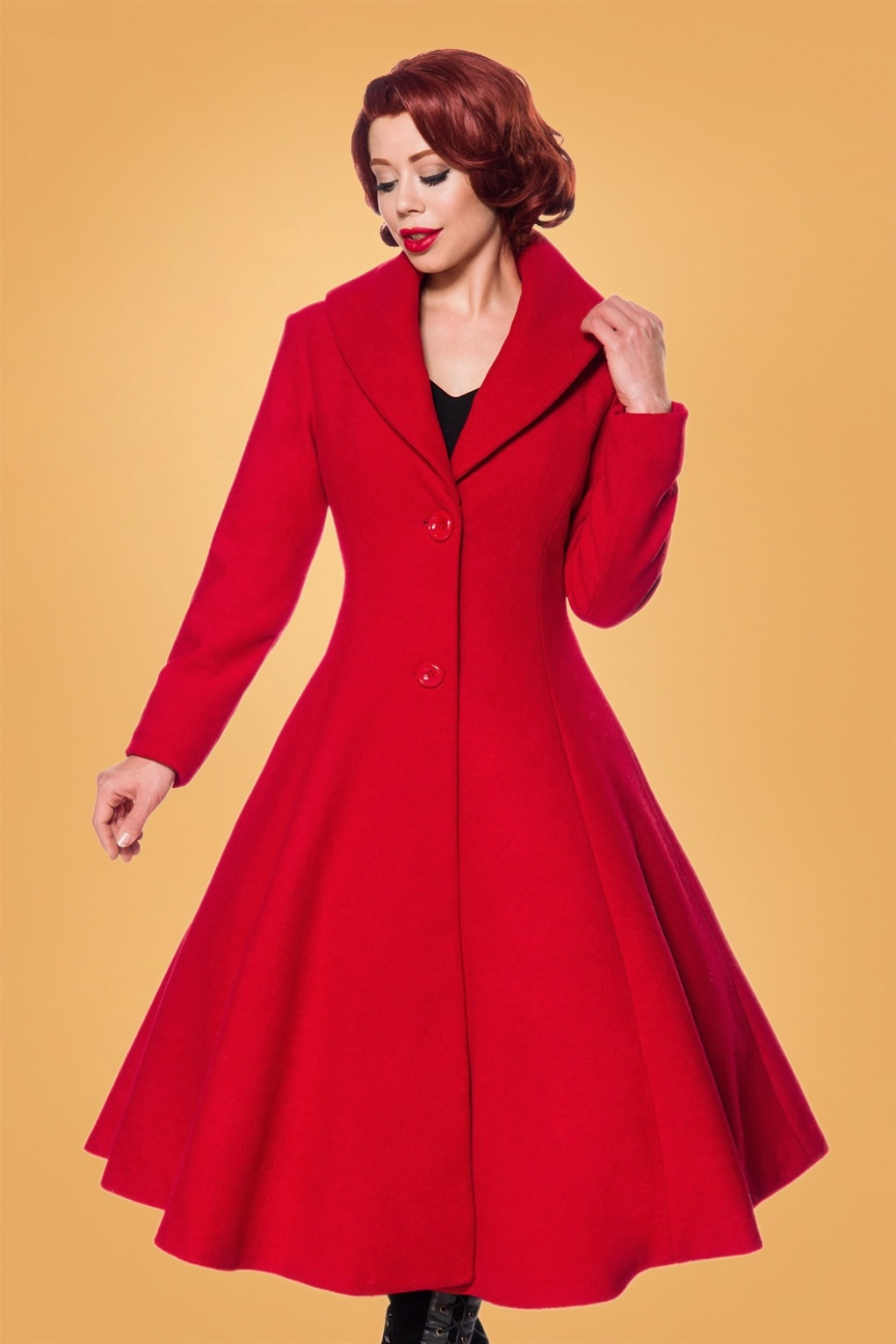 Vintage Coats & Jackets | Retro Coats and Jackets 50s Dorrie Wool Coat in Lipstick Red £122.48 AT vintagedancer.com