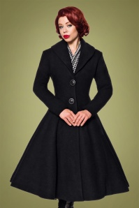 50s Dorrie Wool Coat in Black