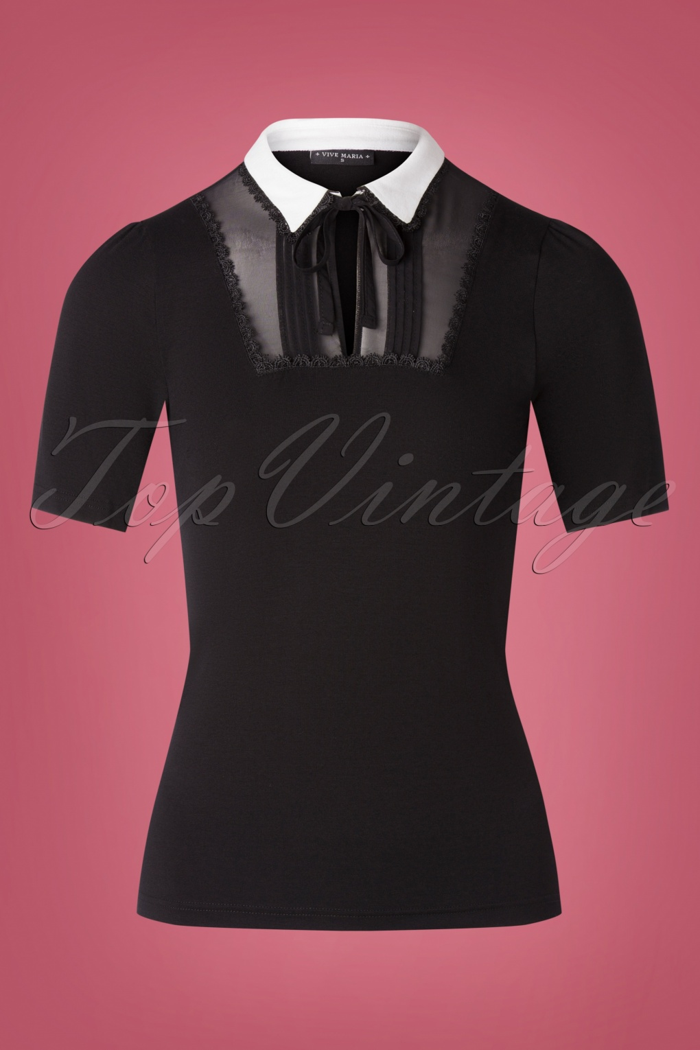 Vintage Inspired Dresses & Clothing UK 60s French Chic Shirt in Black £49.22 AT vintagedancer.com