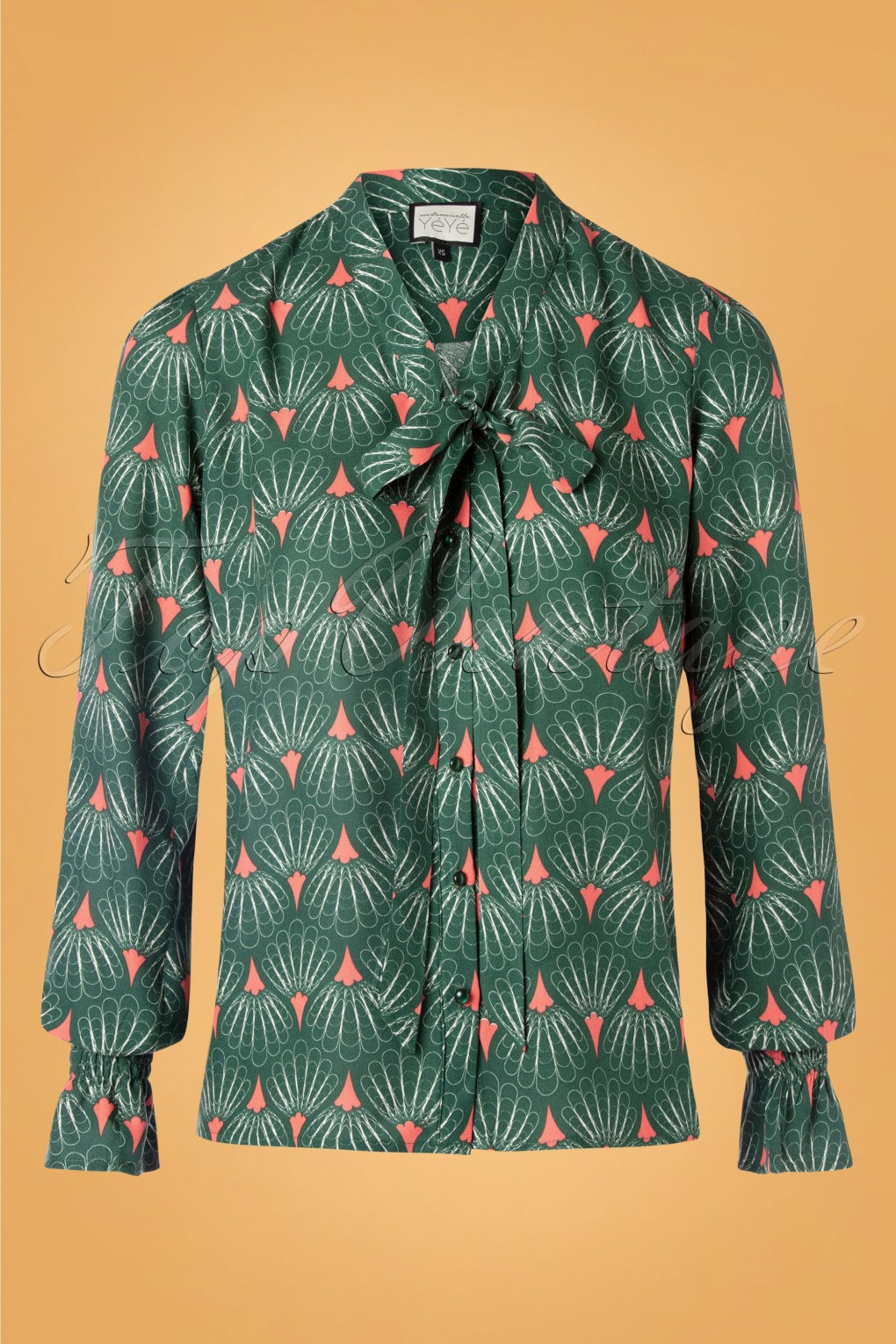 1960s Style Dresses, Clothing, Shoes UK 60s Mindfulness Tres Chic Blouse in Green £65.59 AT vintagedancer.com