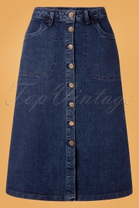 60s Dance Along Skirt in Denim Blue
