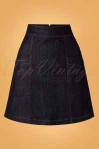 Mademoiselle YéYé 60s Modern Rock N Roll Skirt in Denim Navy