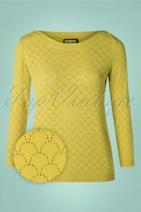 Staying Up Knit Jumper Années 50 en Vert Citron