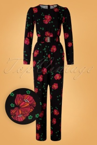 Mademoiselle Yeye 29604 Perfect Moments Jumpsuit Black Red Roses Green 20190726 007W1