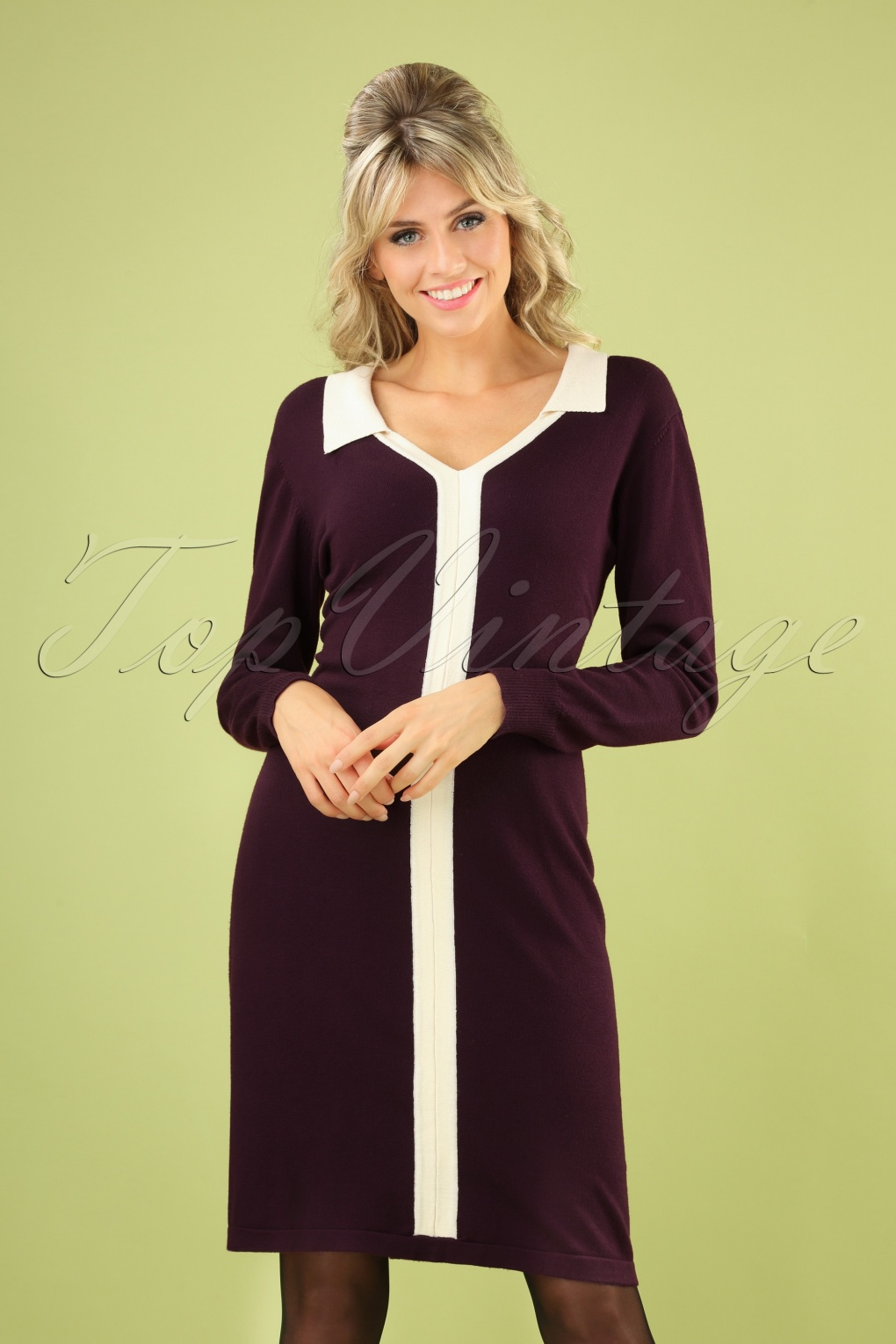 1960s Style Dresses, Clothing, Shoes UK 60s Cute Collar Jumper Dress in Aubergine £53.44 AT vintagedancer.com
