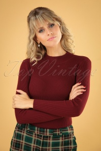 60s Jessica Turtleneck Jumper in Burgundy
