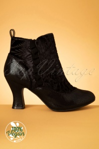 40s Antoinette Velvet Booties in Black