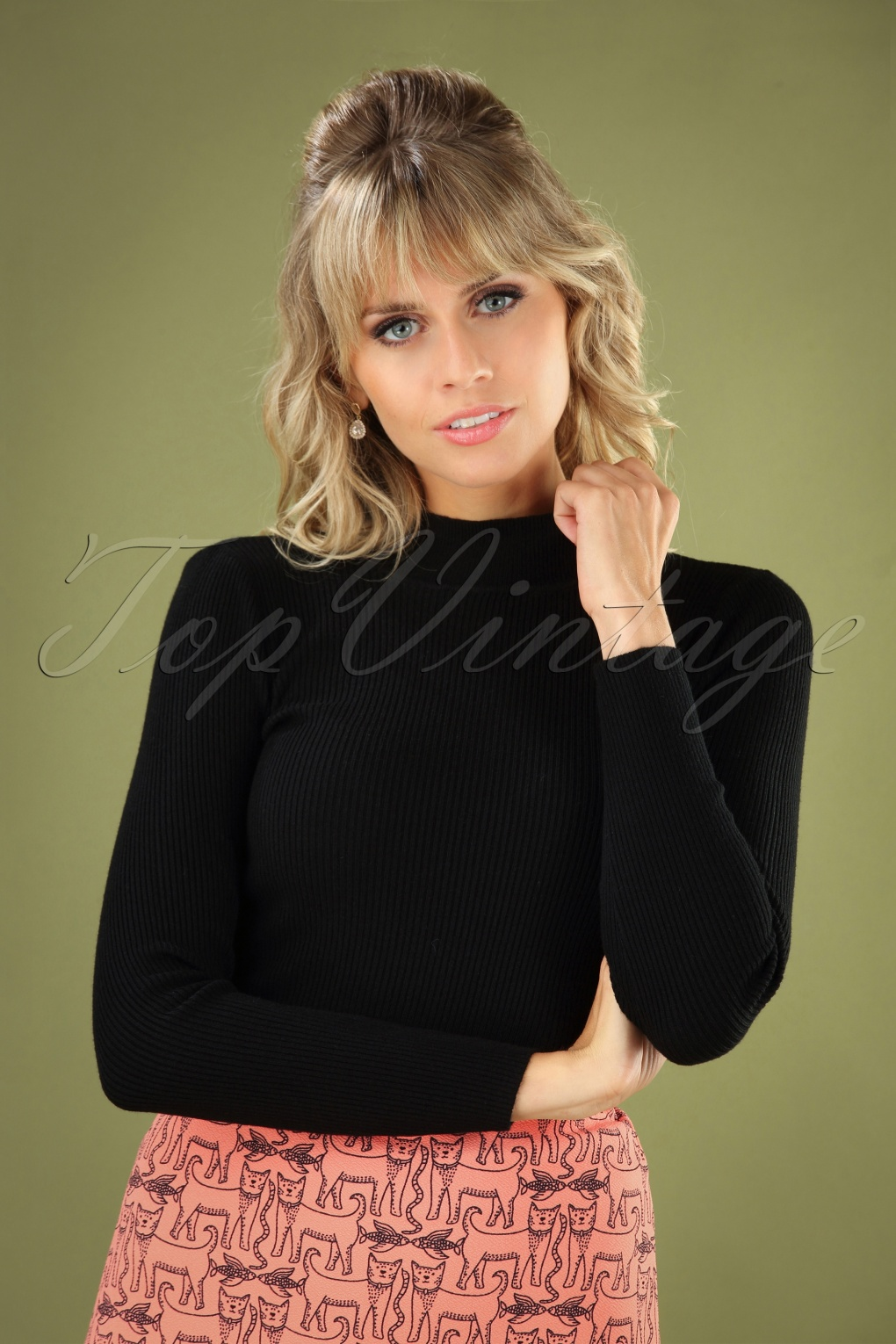 Vintage Inspired Dresses & Clothing UK 60s Jessica Turtleneck Jumper in Black £35.68 AT vintagedancer.com