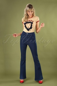 70s Legs Eleven Flared Trousers in Denim
