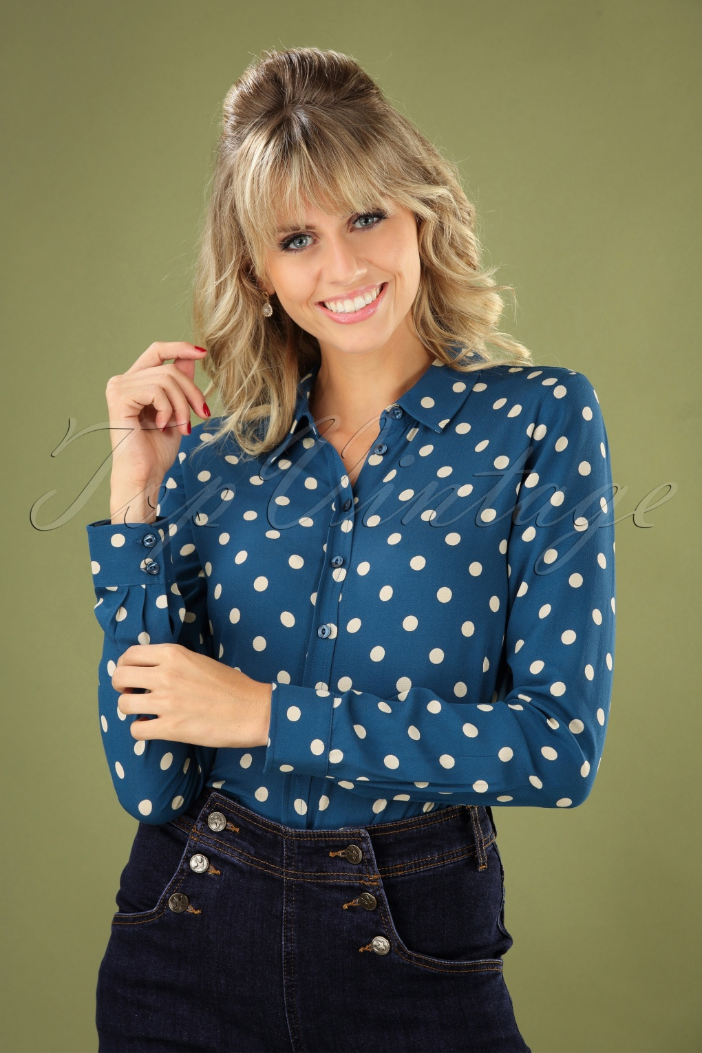 Vintage Inspired Dresses & Clothing UK 70s Rosie Polkadot Blouse in Autumn Blue £71.62 AT vintagedancer.com