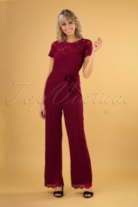 Betty Damask Jumpsuit Années 50 en Rouge Cherise