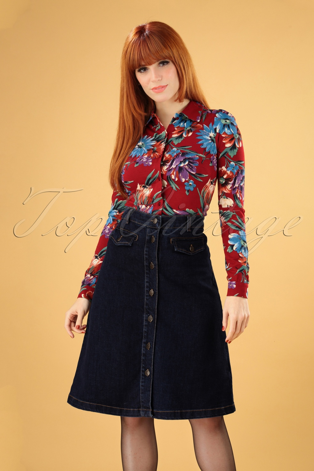 Vintage Inspired Dresses & Clothing UK 60s Caroll Skirt in Denim Blue £71.26 AT vintagedancer.com