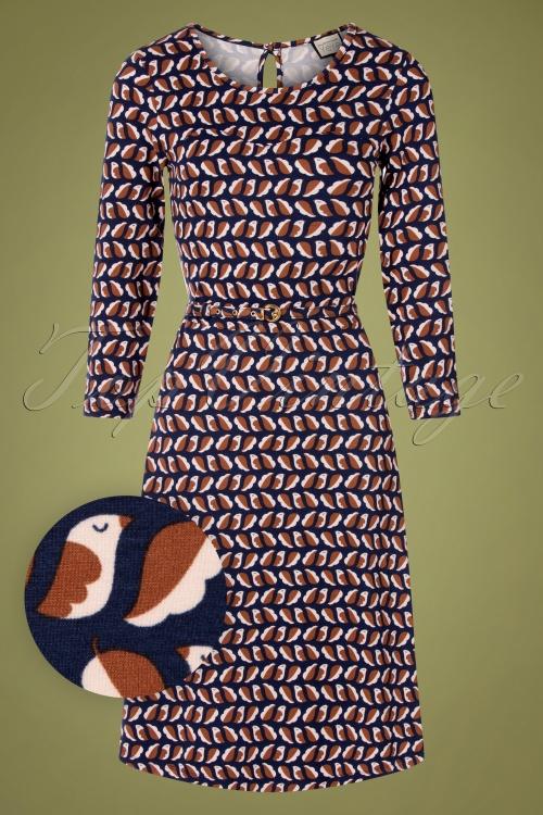 Mademoiselle Yeye 29574 Beth Favourite Dress Brown Blue Birds 20190725 002W1