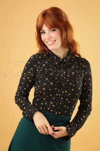 60s Nala Blouse in Honky Tonk Black