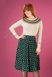 60s Sofia Birdie Midi Skirt in Pine Green