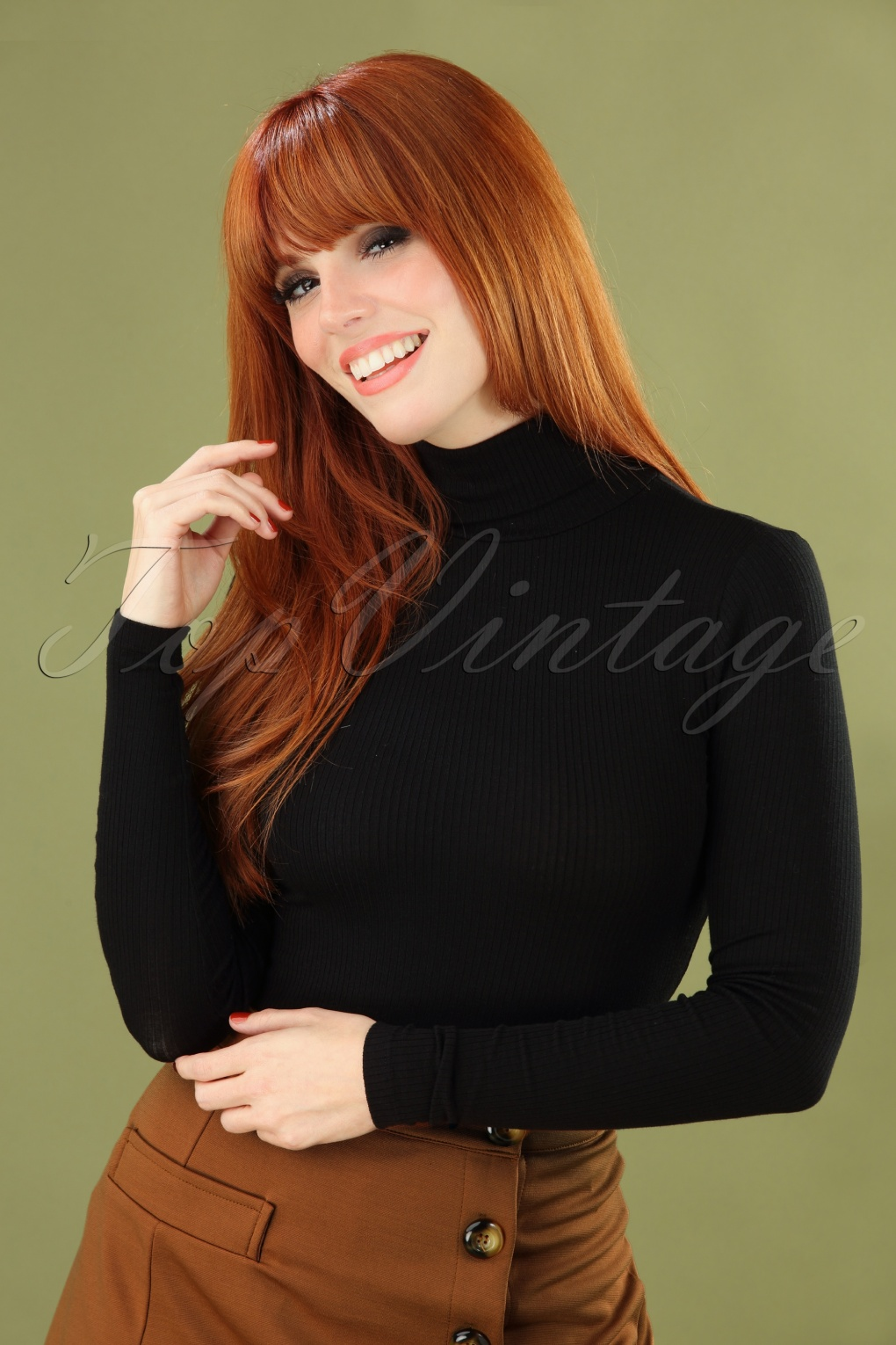 1960s Style Dresses, Clothing, Shoes UK 70s Rollneck Tencel Rib Top in Black £43.72 AT vintagedancer.com