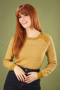 60s Langlauf Kashmir Button Jumper in Sunset Yellow