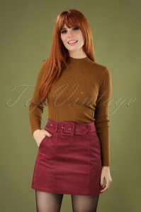 Louche 60s Amir Cord Mini Skirt in Burgundy