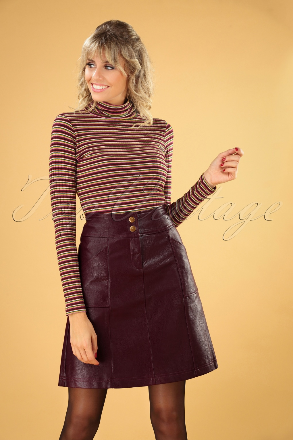 Vintage Inspired Dresses & Clothing UK 60s Bracha Skirt in Winetasting £80.18 AT vintagedancer.com