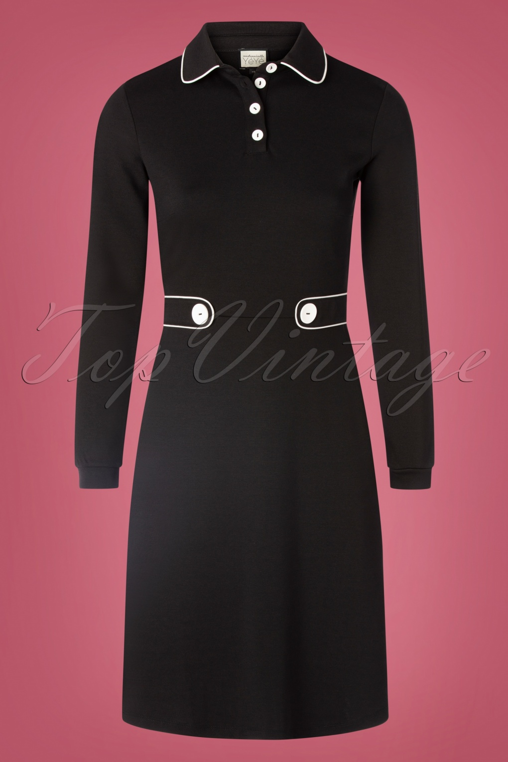 Vintage Inspired Dresses & Clothing UK 60s There She Goes Dress in Black £94.01 AT vintagedancer.com