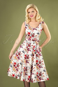 50s Charlotte Wildflowers Dress in White