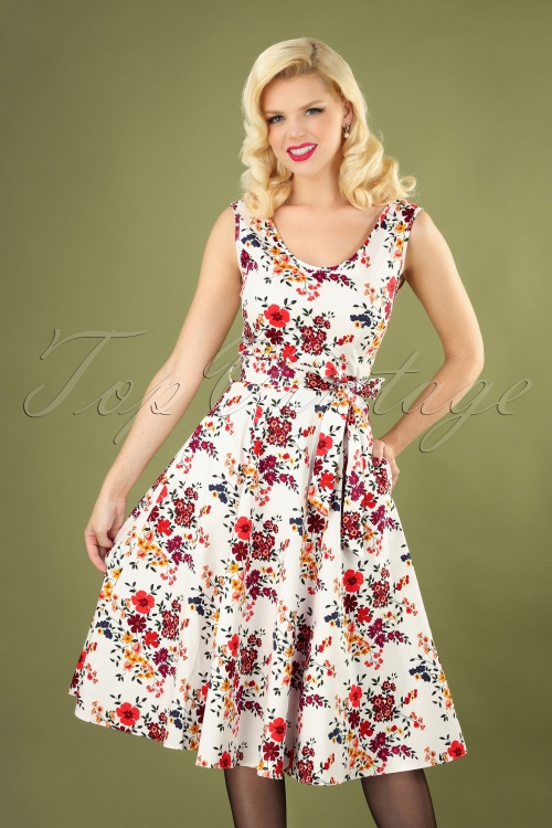 Lady Vintage 30854 Swingdress White Floral Charlotte 07192019 040MW