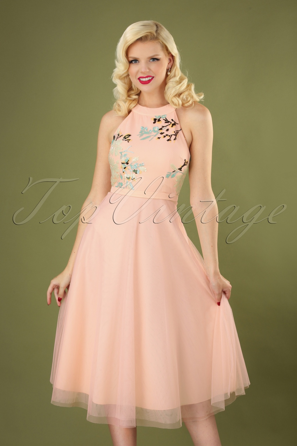 50s Dresses UK | 1950s Dresses, Shoes & Clothing Shops 50s Bea Tulle Midi Swing Dress in Blush £83.08 AT vintagedancer.com